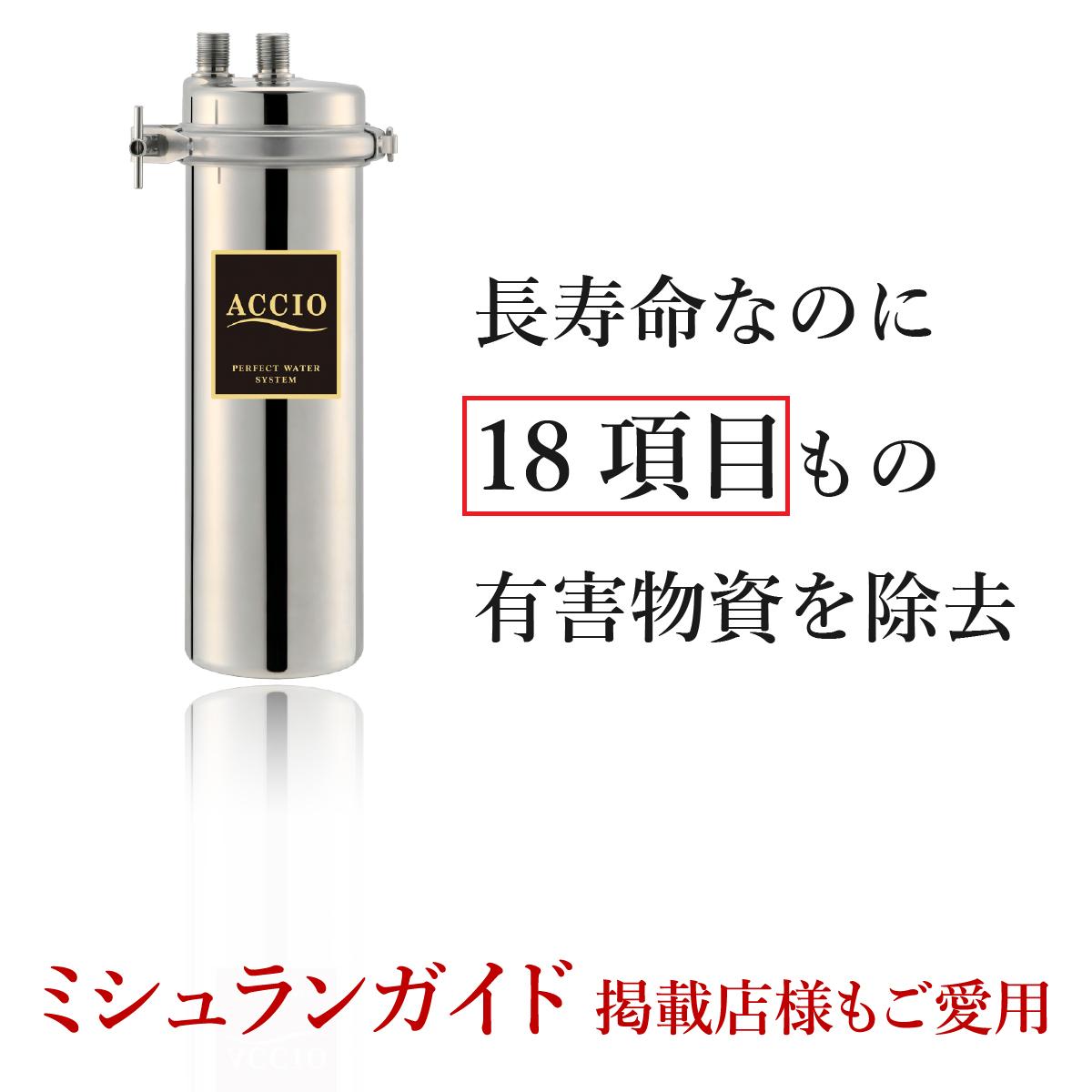 浄水器アクシオの画像あと「長寿命なのに18項目もの有害物質を除去」という文字